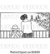 Vector Clip Art of Retro Mom and Daughter at a Railing by Prawny Vintage