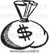 Vector Clip Art of Retro Money Sack with a Dollar Symbol by BestVector