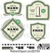Vector Clip Art of Retro Money Shields and Design Elements by BestVector