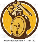 Vector Clip Art of Retro Mongol Horde Barbarian Warrior Holding a Sword and Shield in a Brown White and Yellow Circle by Patrimonio