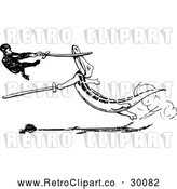 Vector Clip Art of Retro Monkey and Crocodile Sword Fighting by Prawny Vintage