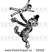 Vector Clip Art of Retro Monkey Dancing with a Doll by Prawny Vintage