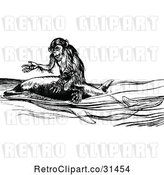 Vector Clip Art of Retro Monkey Riding a Dolphin by Prawny Vintage