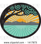 Vector Clip Art of Retro Monkeypod Tree Framing an Ocean Sunset or Sunrise Scene in an Oval by Patrimonio
