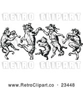 Vector Clip Art of Retro Monkeys Cat and Foxes Dancing by Prawny Vintage