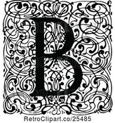 Vector Clip Art of Retro Monogram B Letter over Swirls by Prawny Vintage