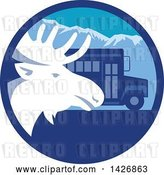 August 14th, 2018: Vector Clip Art of Retro Moose Head and a School Bus in a Blue Mountain Circle by Patrimonio