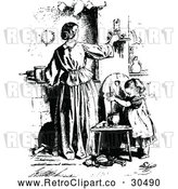 Vector Clip Art of Retro Mother Adjusting a Candle and Daughter by Prawny Vintage