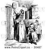Vector Clip Art of Retro Mother Adjusting a Clock and Daughter by Prawny Vintage