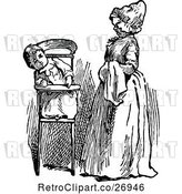 Vector Clip Art of Retro Mother and Baby in a High Chair by Prawny Vintage