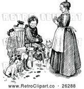 Vector Clip Art of Retro Mother and Boys with Dogs Around a Chair by Prawny Vintage