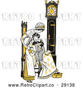 Vector Clip Art of Retro Mother and Children by a Clock in Yellow Tones by Prawny Vintage