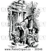 Vector Clip Art of Retro Mother and Children by a Water Pump by Prawny Vintage