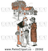 Vector Clip Art of Retro Mother and Children in a Village in Orange Tones by Prawny Vintage