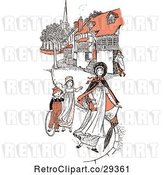 Vector Clip Art of Retro Mother and Children Strolling in Orange Tones by Prawny Vintage
