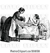Vector Clip Art of Retro Mother and Daughter at a Table by Prawny Vintage