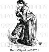 Vector Clip Art of Retro Mother and Daughter Hugging by Prawny Vintage