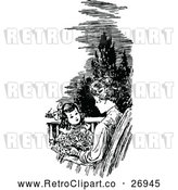Vector Clip Art of Retro Mother and Daughter on a Patio by Prawny Vintage