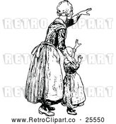 Vector Clip Art of Retro Mother and Daughter Waving Goodbye by Prawny Vintage