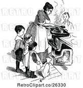 Vector Clip Art of Retro Mother and KChildren Cooking by Prawny Vintage