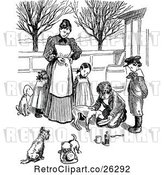 Vector Clip Art of Retro Mother and KChildren Giving Dogs Medicine by Prawny Vintage