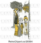 Vector Clip Art of Retro Mother and KChildren in a Village in Yellow Tones by Prawny Vintage