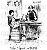 Vector Clip Art of Retro Mother and Son at a Table by Prawny Vintage