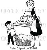 Vector Clip Art of Retro Mother and Son Folding and Washing Laundry by Prawny Vintage