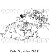 Vector Clip Art of Retro Mother and Son Picking Flowers by Prawny Vintage