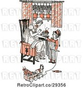 Vector Clip Art of Retro Mother and Son Sewing and Playing in Orange Tones by Prawny Vintage