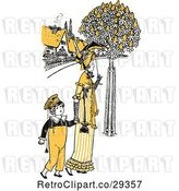 Vector Clip Art of Retro Mother and Son Strolling in Yellow Tones by Prawny Vintage