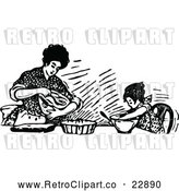 Vector Clip Art of Retro Mother Baking with Her Daughter by Prawny Vintage