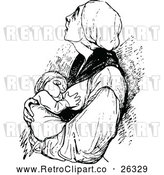 Vector Clip Art of Retro Mother Breast Feeding Her Baby by Prawny Vintage