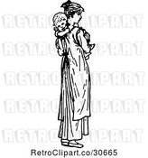 Vector Clip Art of Retro Mother Carrying a Baby by Prawny Vintage