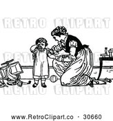 Vector Clip Art of Retro Mother Comforting a Fussy Child by Prawny Vintage