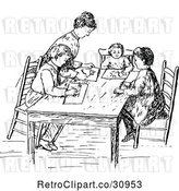 Vector Clip Art of Retro Mother Drawing with Her KChildren by Prawny Vintage