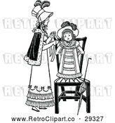 Vector Clip Art of Retro Mother Dressing Her Daughter by Prawny Vintage