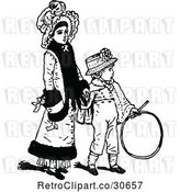 Vector Clip Art of Retro Mother Holding Hands with Her Son by Prawny Vintage