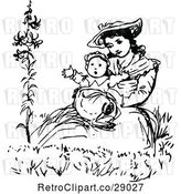 Vector Clip Art of Retro Mother Holding Her Baby by Prawny Vintage