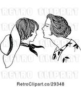 Vector Clip Art of Retro Mother Leaning in to Kiss Her Son by Prawny Vintage