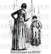 Vector Clip Art of Retro Mother Lecturing Her Son by Prawny Vintage