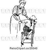Vector Clip Art of Retro Mother Outting Her Son in Time out by Prawny Vintage