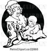 Vector Clip Art of Retro Mother Playing with Her Baby by Prawny Vintage