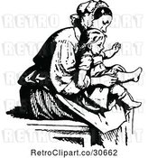 Vector Clip Art of Retro Mother Putting Socks on Her Daughter by Prawny Vintage
