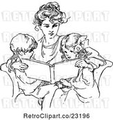 Vector Clip Art of Retro Mother Reading to Her Children by Prawny Vintage