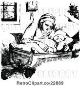 Vector Clip Art of Retro Mother Rocking Her Baby in a Cradle by Prawny Vintage
