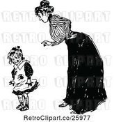 Vector Clip Art of Retro Mother Scolding Her Dirty Daughter by Prawny Vintage