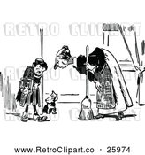 Vector Clip Art of Retro Mother Scolding Her Son and Dog by Prawny Vintage