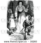 Vector Clip Art of Retro Mother Sending Children out to Chase Butterflies by Prawny Vintage