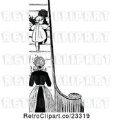 Vector Clip Art of Retro Mother Sending Her Daughter up Stairs at Bed Time by Prawny Vintage